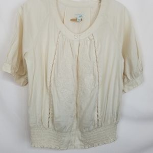 Odille Anthropologie Beige Blouse Embroidered Sz 2